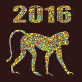 Albern Sie 2016 von farbigen Punkten auf dem weißen Hintergrund herum Es wird für Design eines T-Shirts, Tasche, Postkarte, ein P Lizenzfreie Stockbilder