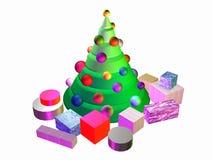 albero 3D-Christmas con i presente Fotografie Stock