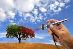 albero airbrushing illustrazione vettoriale