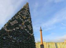 Albero al quadrato del palazzo, San Pietroburgo al tramonto di inverno in Russia Fotografie Stock Libere da Diritti