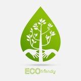 Albero amichevole di verde di concetto dell'abbraccio delle mani di Eco In condizioni ambientali amico Immagine Stock Libera da Diritti