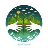Albero amichevole di verde di concetto dell'abbraccio delle mani di Eco In condizioni ambientali amico Fotografia Stock
