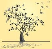 Albero con gli uccelli illustrazione di stock