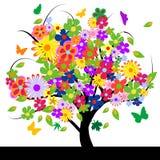 Albero astratto con i fiori illustrazione vettoriale