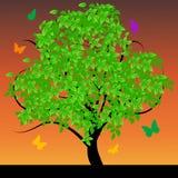 Albero astratto con i fogli verdi royalty illustrazione gratis