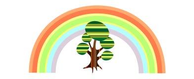 Albero astratto con l'illustrazione del Rainbow Fotografia Stock Libera da Diritti