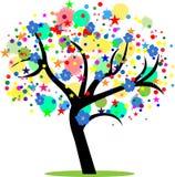 albero astratto con le stelle, i fiori ed i cerchi Fotografia Stock