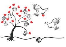 Albero astratto con, piccione, cuore Fotografia Stock Libera da Diritti