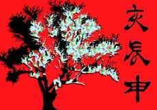 Albero astratto dei bonsai con i simboli del carattere cinese su un fondo rosso vibrante Immagine Stock Libera da Diritti