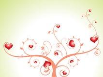 Albero astratto del cuore con i florals Fotografia Stock Libera da Diritti