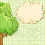Albero astratto del fumetto con la nube per il vostro testo Fotografie Stock Libere da Diritti