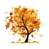 Albero astratto di autunno per la vostra progettazione Immagine Stock Libera da Diritti