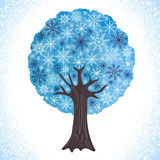 Albero astratto di inverno dell'acquerello con i fiocchi di neve come va Fotografia Stock Libera da Diritti