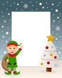 Albero bianco di Natale - Elf verde sveglio Immagine Stock Libera da Diritti