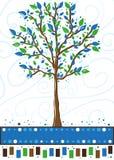 Albero in blu ed in verde - cartolina d'auguri Fotografia Stock Libera da Diritti