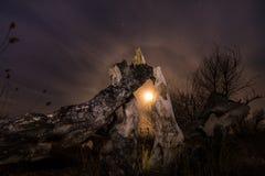 Albero bruciato - paesaggio della luna piena di notte Immagine Stock