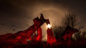 Albero bruciato - paesaggio della luna piena di notte Immagini Stock