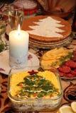 Albero celebratorio di crismas del buon anno della tavola Fotografia Stock