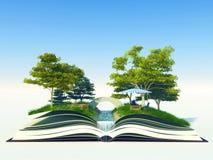 Albero che cresce da un libro immagine stock