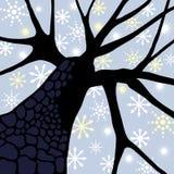 Albero con i fiocchi di neve Fotografie Stock Libere da Diritti