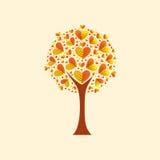 Albero con i fogli heart-shaped Fotografia Stock
