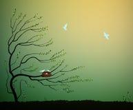 Albero con il nido e lo stormo degli uccelli blu che volano, ritorno all'idea della casa della natura, incastramento della molla, illustrazione vettoriale