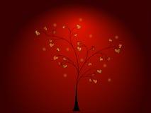 Albero con le foglie dell'oro Fotografie Stock