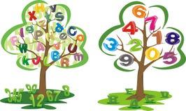 Albero con le lettere ed i numeri Immagini Stock