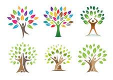 Albero creativo Logo Design Illustration della gente Fotografia Stock Libera da Diritti