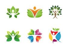 Albero creativo Logo Design Illustration della gente Immagini Stock