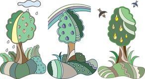 Albero da frutto nello stile animated Fotografia Stock Libera da Diritti
