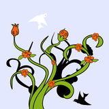 Albero decorativo con l'uccello Fotografia Stock Libera da Diritti