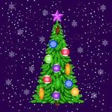 Albero decorato di hristmas del  di Ñ Elementi per le cartoline di Natale di progettazione Immagini Stock Libere da Diritti