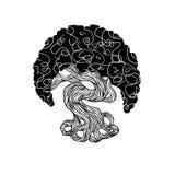 Albero dei bonsai dei grafici tronco della curva, grande corona Immagini Stock
