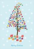 Albero dei regali di Natale Fotografia Stock Libera da Diritti