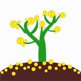 Albero dei soldi con terra Immagini Stock Libere da Diritti