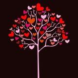 Albero del biglietto di S. Valentino con i cuori Fotografia Stock Libera da Diritti