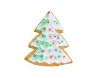 Albero del biscotto di Natale con neve isolata su bianco Immagine Stock Libera da Diritti