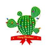 Albero del cactus di Natale, illustrazione di vettore Immagini Stock