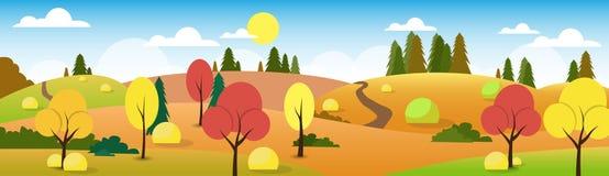 Albero del cielo della nuvola di Autumn Landscape Forest Road Blue illustrazione di stock