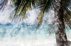 Albero del cocco sulla spiaggia illustrazione vettoriale