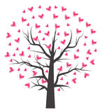 Albero del cuore con la foglia del cuore Fotografia Stock Libera da Diritti
