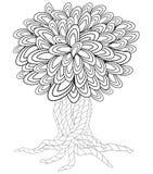 Albero del fiore Libro da colorare per l'adulto Scarabocchi per la meditazione royalty illustrazione gratis