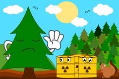 Albero del fumetto contro l'illustrazione di concetto del rifiuto tossico Fotografia Stock