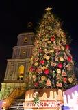 Albero del nuovo anno su Sophia Square in Kyiv, Ucraina fotografie stock