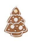 Albero del pan di zenzero di Natale isolato su un fondo bianco Fotografie Stock Libere da Diritti