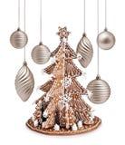 Albero del pan di zenzero e decorazione dell'argento di natale Fotografie Stock