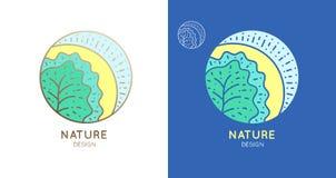 Albero del sole della natura di logo Immagine Stock