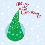 Albero della cartolina di Natale del nuovo anno Immagini Stock
