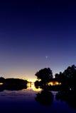 Albero della città di notte Fotografia Stock